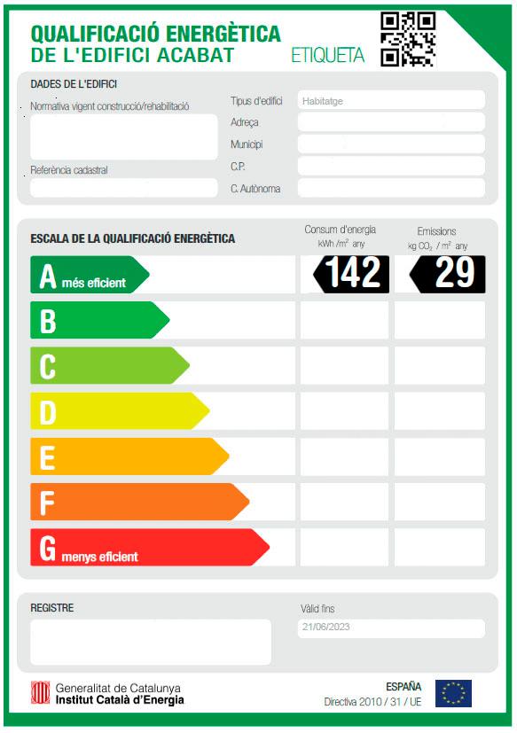 imagen de un certificado energético de Barcelona